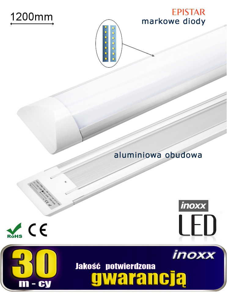 Lampa Liniowa Natynkowa Panel Led Slim 120cm 40w 6000k Zimna